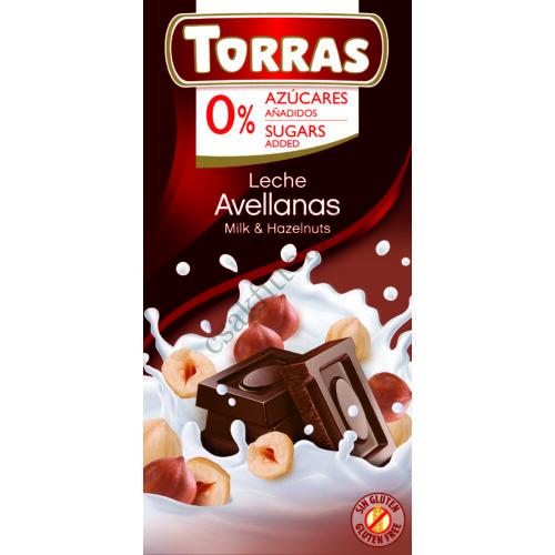 Mogyorós tejcsokoládé hozáadott cukor nélkül75 g