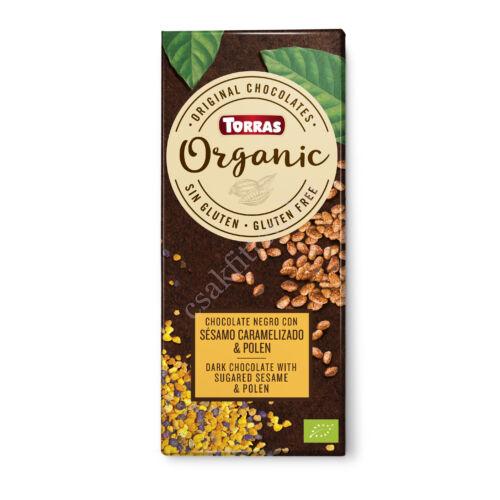 Szezámmagos és virágporos étcsokoládé100 g